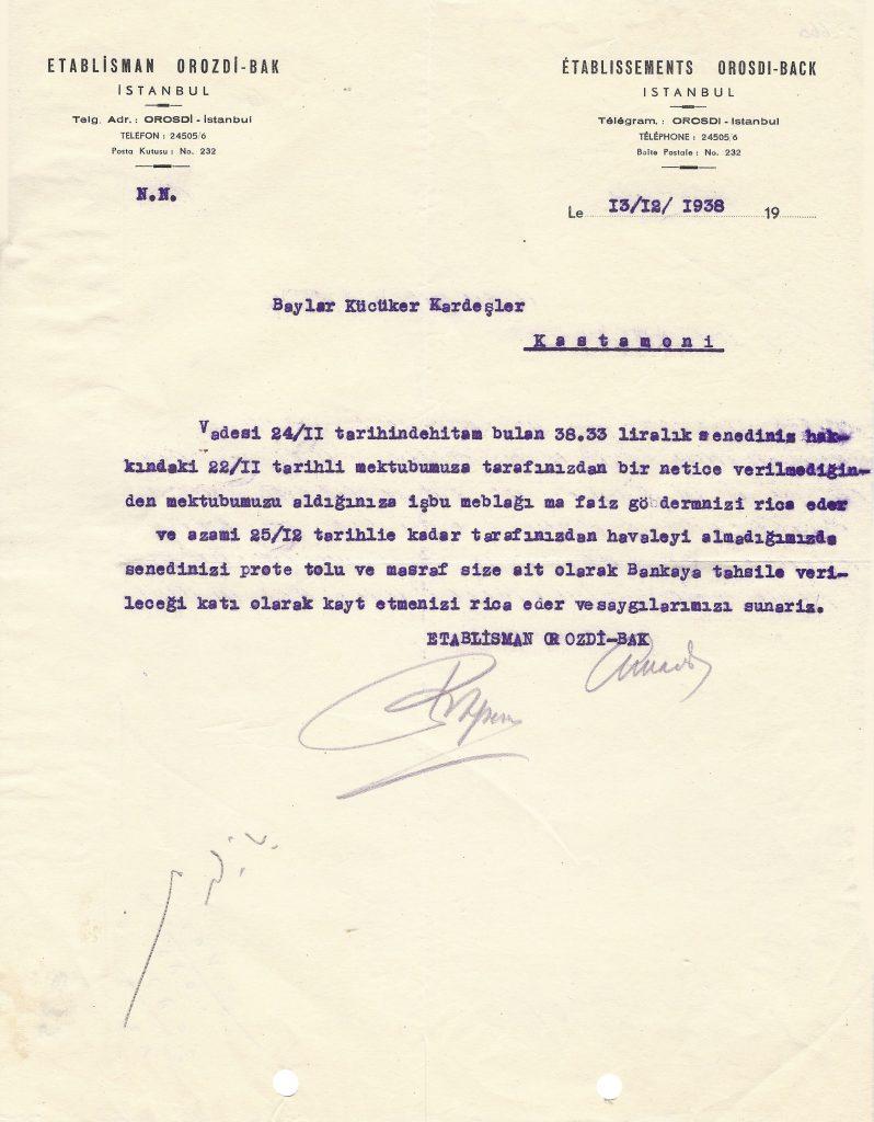 Resim 1: Orosdi Back İstanbul Antetli 1938 Tarihli Doküman