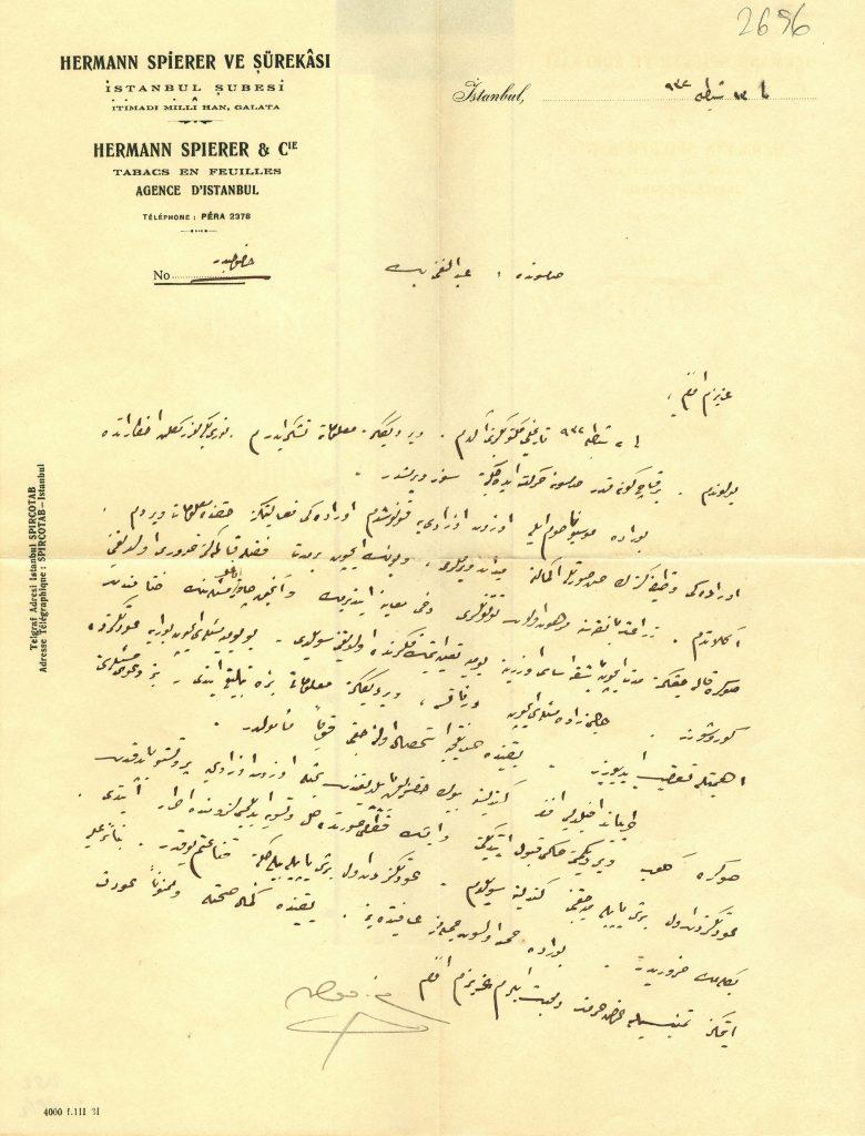 Resim 1. Hermann Spierer ve Şürekâsı Antetli Evrak