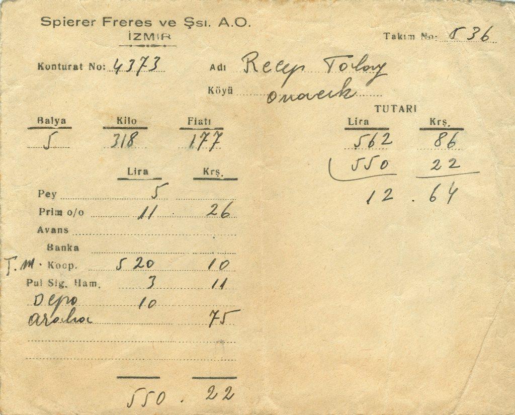 Resim 2. Spierer Freres ve Şürekâsı A.O. Zarf
